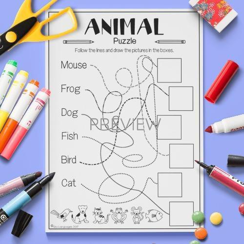 ESL English Animals Line Puzzle Activity Worksheet