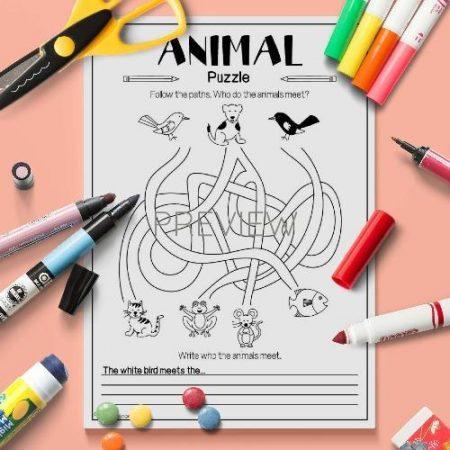 ESL English Animals Puzzle Game Activity Worksheet