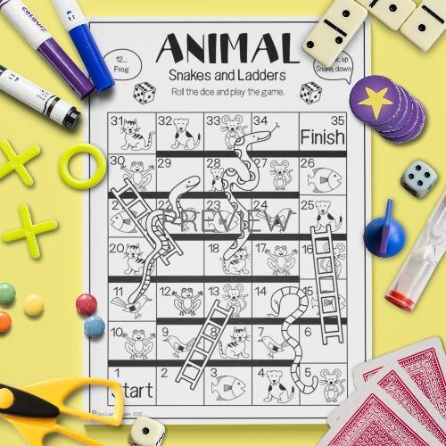 ESL English Animals Snakes And Ladders Game Activity Worksheet