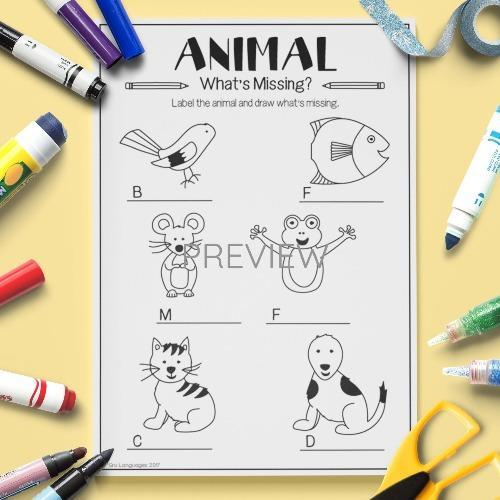 ESL English Animals What Is Missing Activity Worksheet