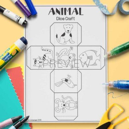 ESL English Animal Dice Craft Activity Worksheet