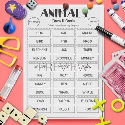 ESL English Animals Draw It Card Game Activity Worksheet