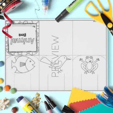 ESL English Animal Flap Book Craft Activity Worksheet