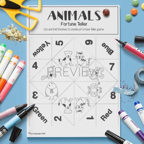 ESL English Animal Fortune Teller Game Craft Activity Worksheet