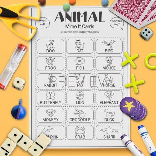 ESL English Animals Mime It Card Game Activity Worksheet