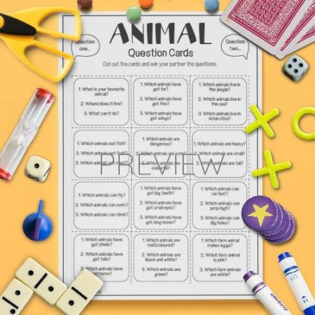 ESL English Animals Question Cards Activity Worksheet