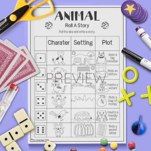 ESL English Animals Roll A Story Activity Worksheet