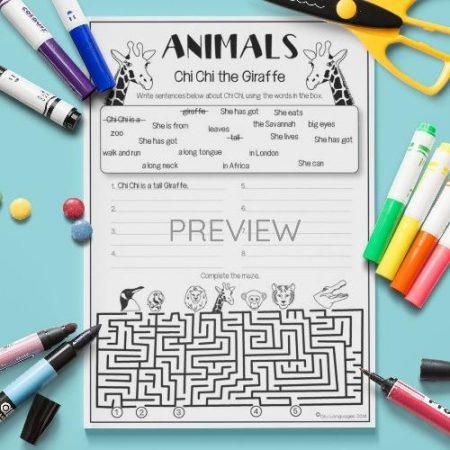 ESL English Giraffe Writing Activity Worksheet