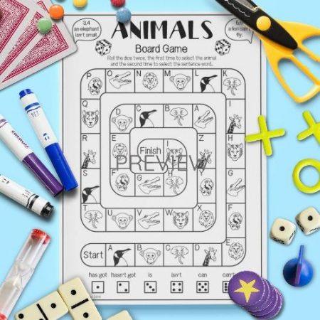ESL English Animals Sentence Board Game Activity Worksheet