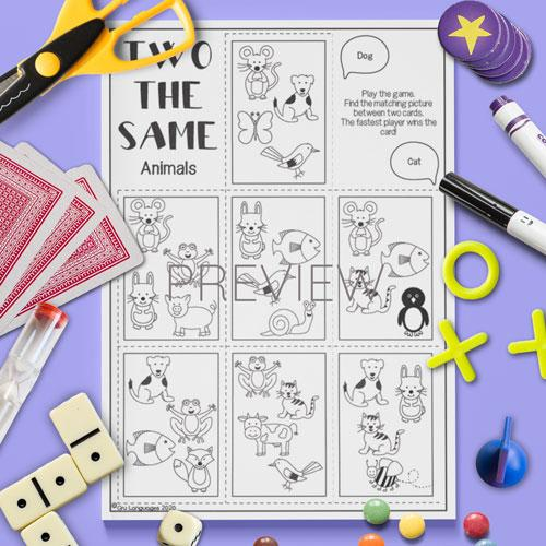 ESL English Animals Two The Same Card Game Activity Worksheet