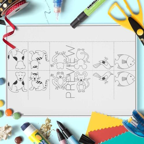 ESL English Animals Finger Puppets Craft Activity Worksheet