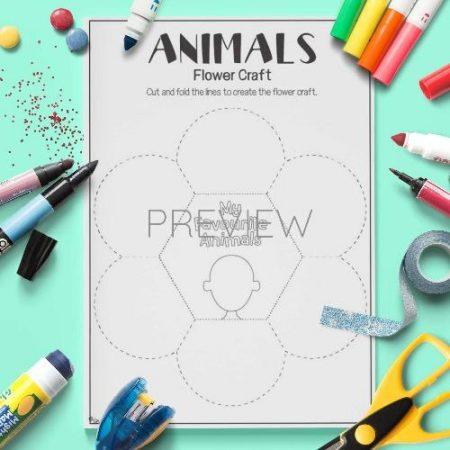 ESL English Animals Flower Craft Activity Worksheet