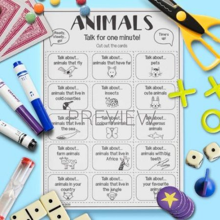 ESL English Animals Talk For A Minute Card Game Activity Worksheet