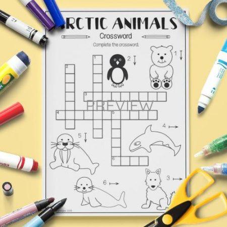 ESL English Arctic Animals Crossword Activity Worksheet