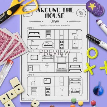 ESL English House Bingo Game Activity Worksheet