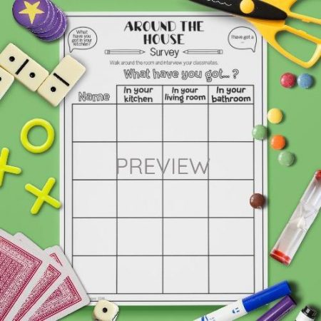 ESL English House Class Survey Activity Worksheet