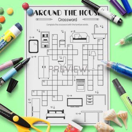 ESL English House Crossword Activity Worksheet