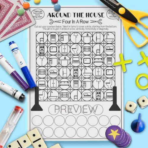 ESL English House Four In A Row Game Activity Worksheet