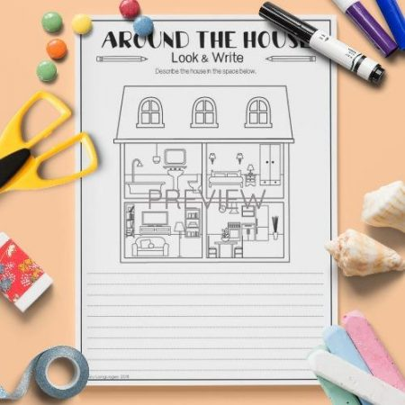 ESL English House Look And Write Activity Worksheet