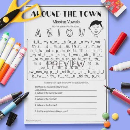 ESL English House Missing Vowels Activity Worksheet