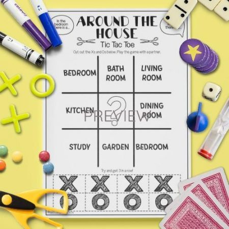 ESL English House Tic Tac Toe Game Activity Worksheet