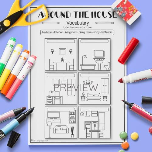 ESL English House Vocabulary Activity Worksheet