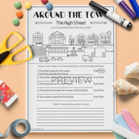 ESL English Town Writing Activity Worksheet