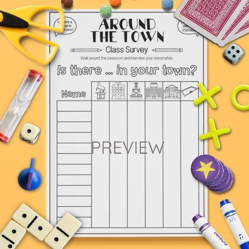 ESL English Town Survey Activity Worksheet