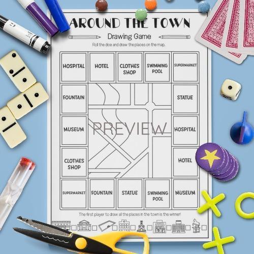 ESL English Town Drawing Game Activity Worksheet