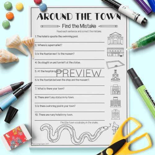ESL English Town Find The Mistakes Activity Worksheet