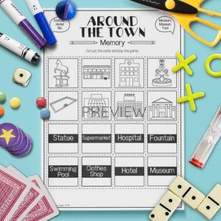 ESL English Town Memory Game Activity Worksheet