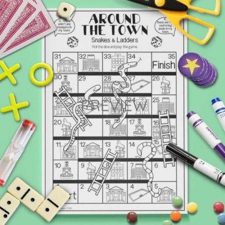 ESL English Town Snakes And Ladders Activity Worksheet