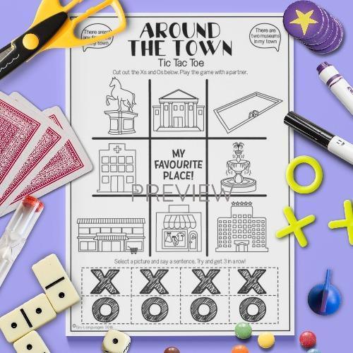 ESL English Town Tic Tac Toe Game Activity Worksheet