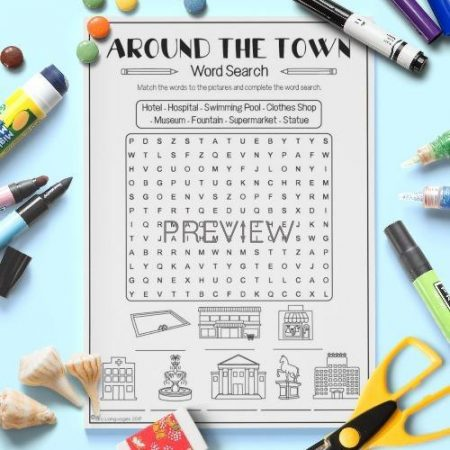 ESL English Town Word Search Activity Worksheet