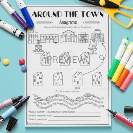 ESL English Town Anagrams Activity Worksheet