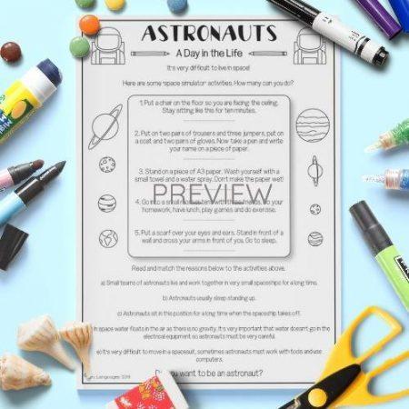 ESL English Astronaut Reading Activity Worksheet