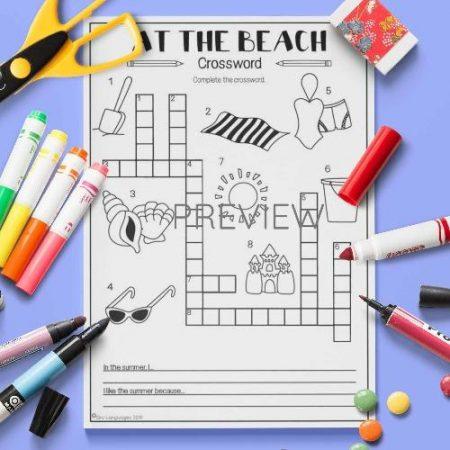 ESL English Beach Crossword Activity Worksheet