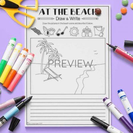 ESL English Beach Draw And Write Activity Worksheet