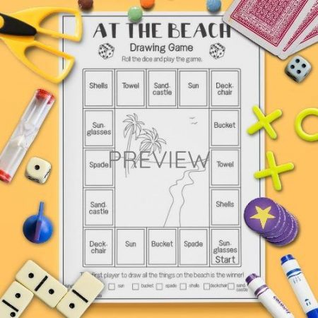 ESL English Beach Drawing Game Activity Worksheet