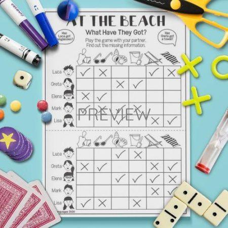 ESL English Beach Gap Fill Activity Worksheet