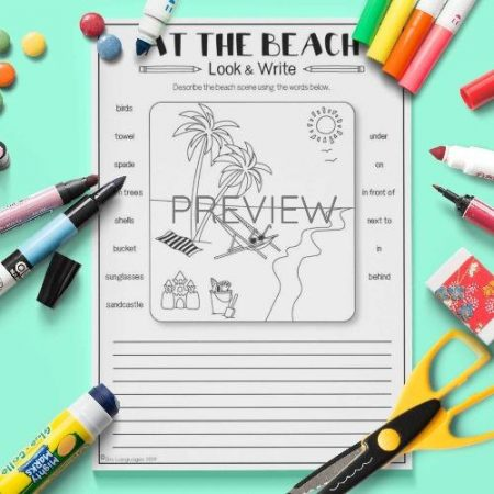 ESL English Beach Look And Write Activity Worksheet