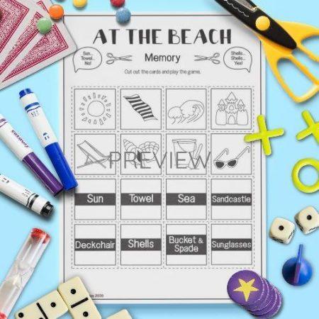 ESL English Beach Memory Game Activity Worksheet