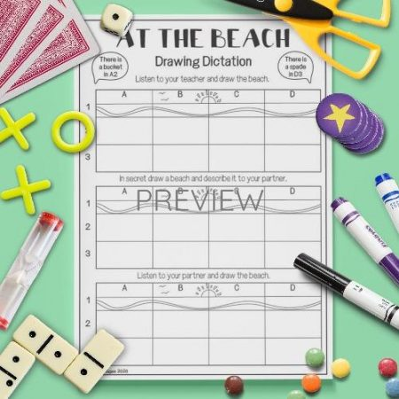 ESL English Beach Drawing Drawing Dictation Game Activity Worksheet
