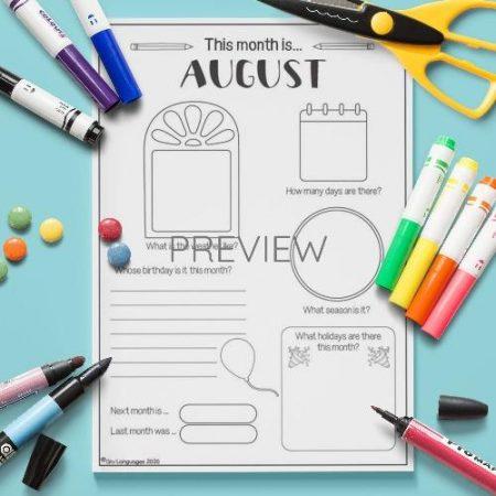 ESL English August Writing Activity Worksheet