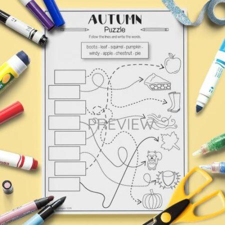 ESL English Autumn Puzzle Activity Worksheet