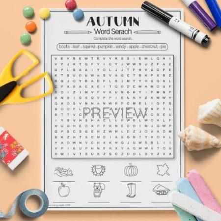 ESL English Autumn Word Search Activity Worksheet