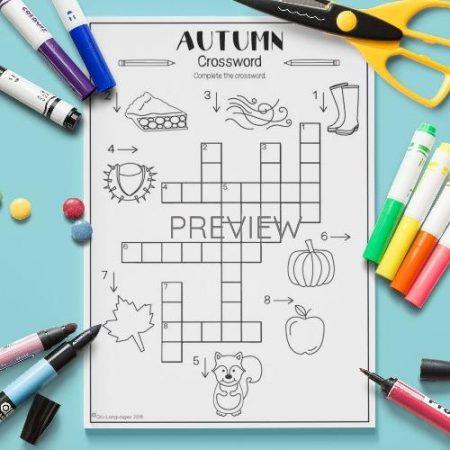 ESL English Autumn Crossword Activity Worksheet