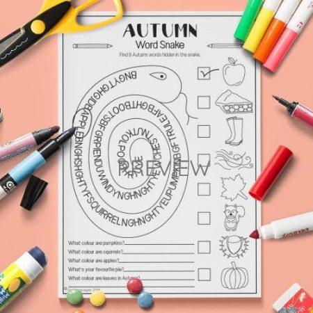 ESL English Autumn Word Snake Activity Worksheet