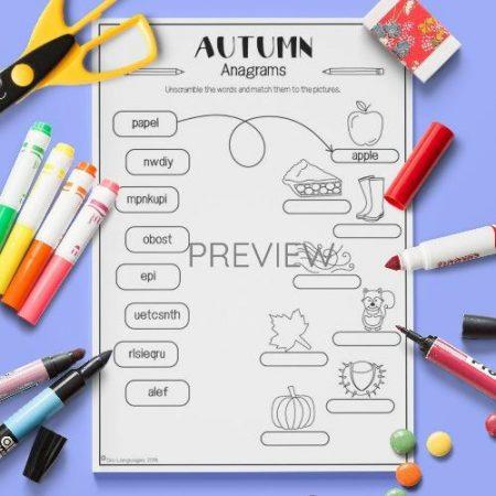 ESL English Autumn Anagrams Activity Worksheet