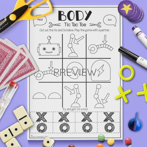 ESL English Body Robot Tic Tac Toe Game Activity Worksheet